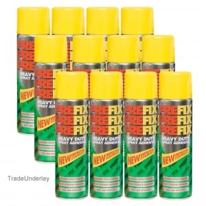 Pre-fix Heavy duty carpet & upholstery spray adhesive x 12